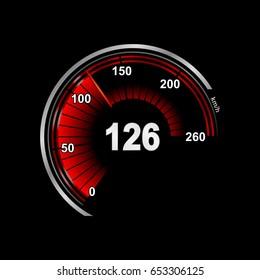 realistic car dashboard. speedometer