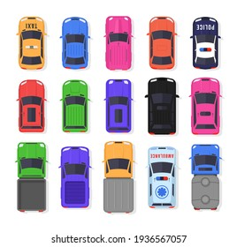 Realistic car design isolated on white background. Set of cars and trucks top view in flat style. Vehicles driving in the city and service transport. Vector illustration, eps 10.