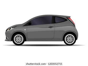 realistic car. hatchback. side view.