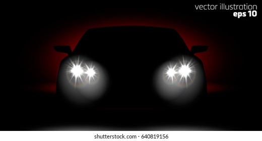 Realistic Car headlights shining in the dark front view