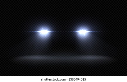 Realistic car headlights. Train front light beams, transparent bright glowing light rays, night road light effects. Vector 3d led lights