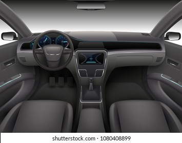 Realistic car interior with rudder, dashboard front panel and auto windshield vector illustration. Automobile interior, wind shield and dashboard
