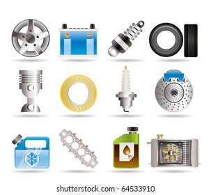 Realistic Car Parts and Services icons - Vector Icon Set 5