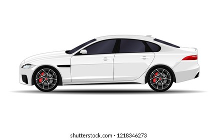 realistic car. sedan. side view.