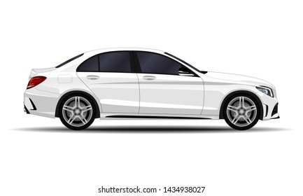 realistic car. sedan. side view