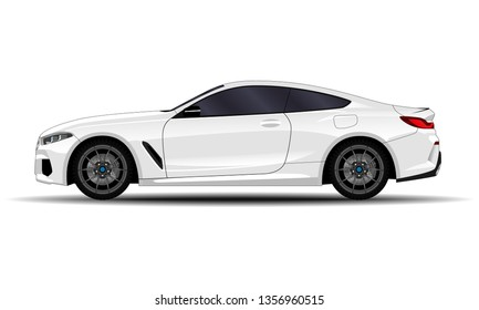 realistic car. sport coupe. side view.