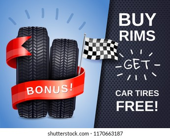 Realistic car tires as present to buying rims ad poster with racing flag vector illustration