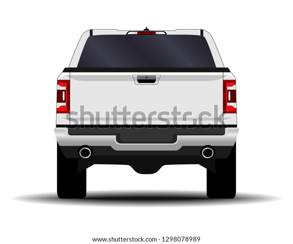 Realistic Car Truck Pickup Back View Stock Vector Royalty Free 1298078989