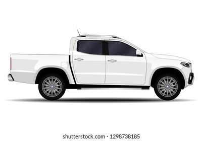 realistic car. truck, pickup. side view.