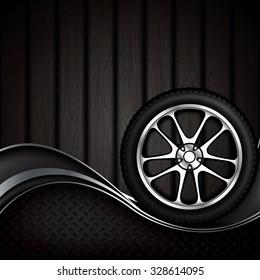 Realistic car wheel with shining rim.Vector illustration