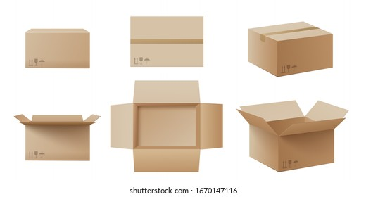 Realistic cardboard box mockup set from side, front and top view open and closed isolated on white background. Parcel packaging template - vector illustration.