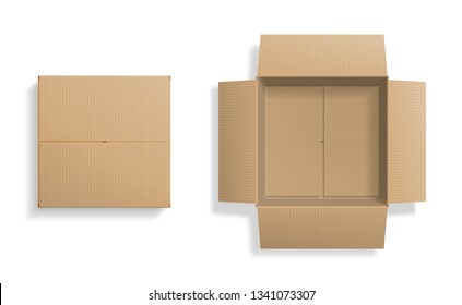 Realistic cardboard box set, opened and closed top view, with transparent shadow, isolated on white background. Vector illustration