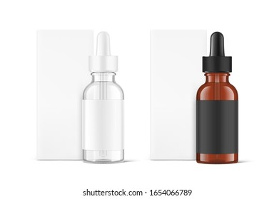 Realistic cardboard packaging box mockup with dropper bottle mockup isolated on white background.Vector illustration.  Сan be used for cosmetic, medical and other needs. EPS10.