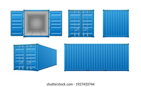 Realistic cargo containers, 3d templates set with different views isolated on white background. Shipping, transportation and delivery concept. Vector illustration