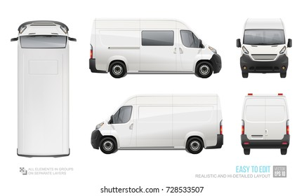 Realistic Cargo Delivery Van vector template. Mockup Blank Van Template for Branding and Corporate identity design on transport. Realistic White Cargo Vehicle isolated on white background
