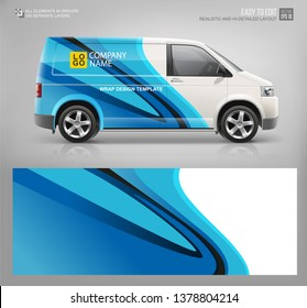 Realistic Cargo Van wrap decal for livery branding design and corporate identity company. Abstract graphic of blue stripes Wrap, sticker and decal design for services car. Hi-detailed Van mockup