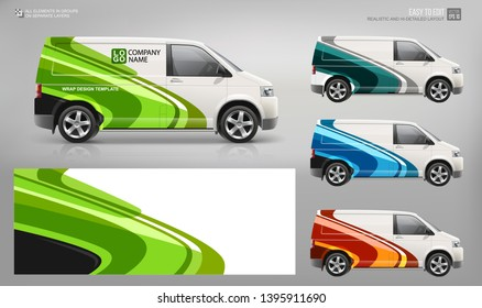 Realistic Cargo Van wrap decal for livery branding and corporate identity company. Abstract graphic of green, blue, red stripes Wrap, sticker and decal design for services car. Hi-detailed Van mockup