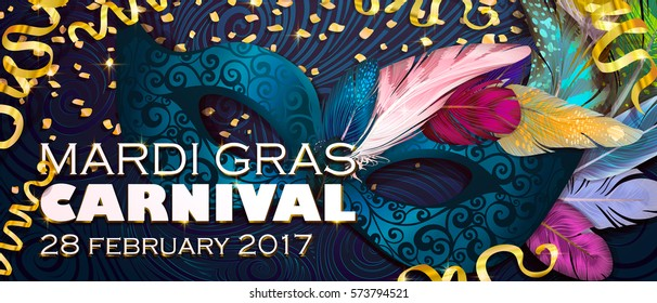 Realistic carnival mask, feathers, for invitation flyers, web banner, separated elements under mask. Vector illustration,colorful background. Mardi Gras Carnival 28 february 2017