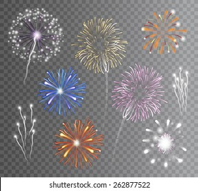 Realistic carnival multicolored firework explodes on transparent background isolated vector illustration