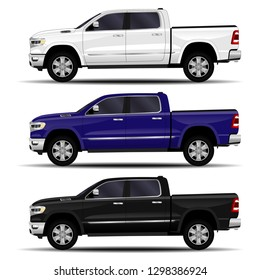 realistic cars set. truck, pickup. side view.