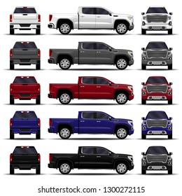 realistic cars set. truck, pickup. front view; side view; back view.