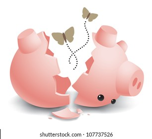 Realistic cartoon illustration of an empty, broken, ceramic piggy bank with moths flying out from inside. Isolated on white.