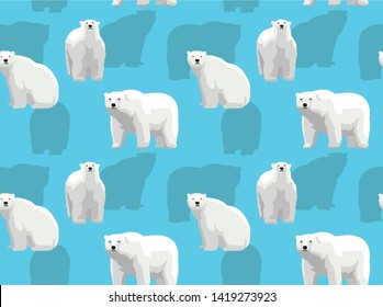 Realistic Cartoon Polar Bear Vector Seamless Background Wallpaper