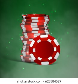 realistic casino chips isolated on green background