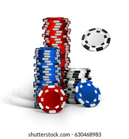 realistic casino chips isolated on white background