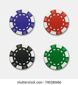 Realistic casino chips on white background. Vector illustration