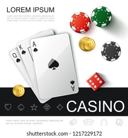 Realistic Casino Top View Concept