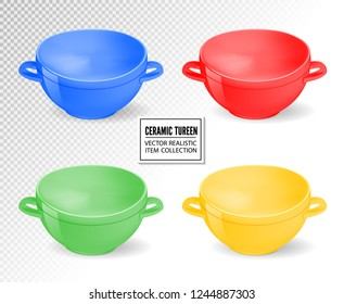 Realistic ceramic ware set. Different colors tableware for cooking, cooking utensils for serving table, food, lunch and dinner, a bowl for soup. Vector 3d illustration isolated.