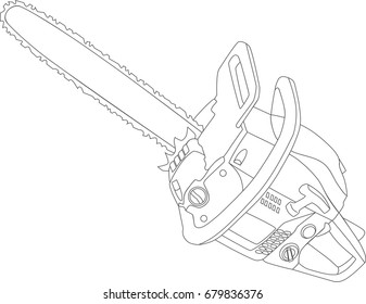 Realistic chainsaw vector illustration draw