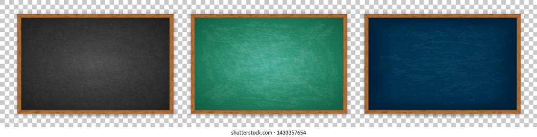 Realistic chalkboard with wooden frame isolated on transparent background. Chalkboard set for design. Rubbed out dirty chalkboard. Empty black, blue, green blackboard for classroom or restaurant menu