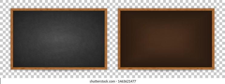 Realistic chalkboard with wooden frame isolated on transparent background. Chalkboard set for design. Rubbed out dirty chalkboard. Empty brown and black blackboard for classroom or restaurant menu