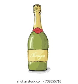 Realistic champagne bottle with gold foil. Christmas drink. Hand drawn vector illustration on a white background.
