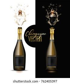 Realistic champagne explosion set. Black glass bottle with gold label popping its cork splashing mockup. Christmas, new year, birthday celebration vector illustration, white isolated, black background