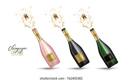 Realistic champagne explosion set. Pink, black, green glass bottle with gold label popping cork splashing. Christmas, new year, corporate, birthday celebration element. Isolated vector illustration