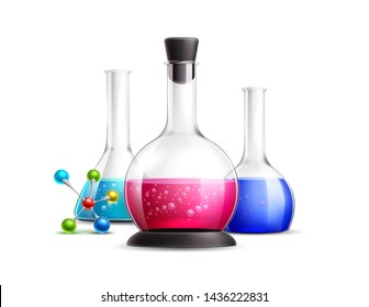 Realistic chemical flasks, test-tubes with atom symbol. Chemical reaction, pharmaceutical laboratory vector design. Glassware for lab research. Glass bottles for reagents.