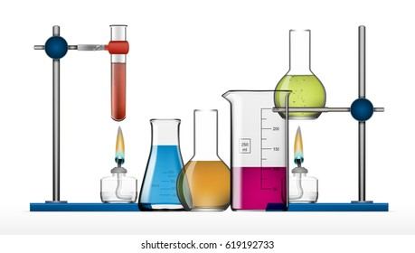 Realistic Chemical Laboratory Equipment Set. Glass Flasks, Beakers, Spirit Lamps. EPS10 Vector