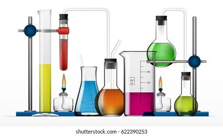 Realistic Chemical Laboratory Equipment Set. Glass Flasks, Beakers, Spirit Lamps. EPS10 Vector