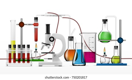 Realistic Chemical Laboratory Equipment Set. Glass Flasks, Beakers, Spirit Lamps, Microscope. EPS10 Vector