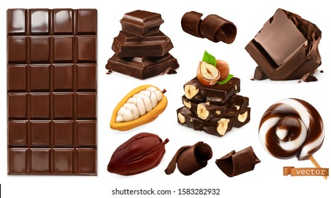 Realistic Chocolate. Chocolate bar, candy, pieces, shavings, cocoa beans and hazelnuts. Miscellaneous 3d vector objects. Food icon set - Shutterstock ID 1583282932