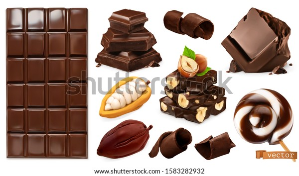 Realistic Chocolate. Chocolate bar, candy, pieces, shavings, cocoa beans and hazelnuts. Miscellaneous 3d vector objects. Food icon set