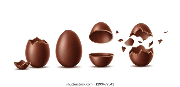 Realistic chocolate eggs set. Broken, exploded eggshell, two halves and whole chicken egg. Sweet easter holiday symbol. Vector dessert made of dark cocoa. Restaurant, cafe menu, celebration design.