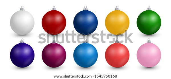 Realistic Christmas balls collection. Set of colorful festive decoration for Christmas tree isolated on editable white background. Shiny vector clip art for invitation, card, poster, banner, wallpaper