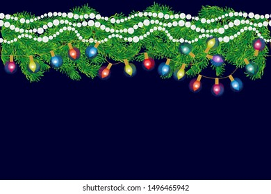 Realistic Christmas border. Fir tree branches, lighting garland and festive decorations on dark background. Template for cards, banners, posters.
