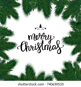 Realistic christmas frame with fir. Merry Christmas typography lettering pine tree decoration border card. Vector illustration