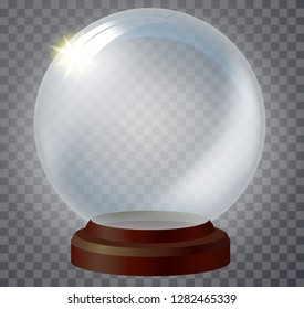 Realistic Christmas glass snow globe isolated on transparent background. vector illustration. Transperent glass ball. Magic Christmas crystal ball of glass, snow and red stand.
