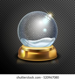 Realistic Christmas glass snow globe isolated on transparent background. vector illustration. Winter in glass ball. Magic Christmas crystal ball of glass, snow and gold stand. Vector illustration